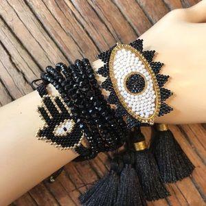 Jewelry - NEW Bracelet Set Evil Eye Hamsa Tassel Jewelry